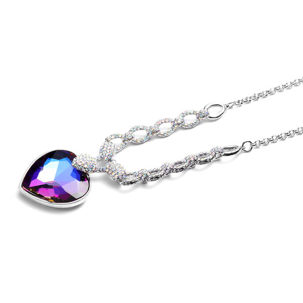 Simulated Mystic Topaz and Simulated Mystic White Crystal Necklace (Size 20 with 2 inch Extender) with Lobster Lock in Silver Tone