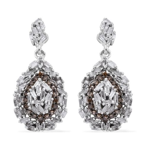 GP White Diamond (Bgt), Natural Champagne Diamond and Kanchanaburi Blue Sapphire Earrings (with Push Back) in Platinum Overlay Sterling Silver 0.770 Ct. Number of Diamonds 138