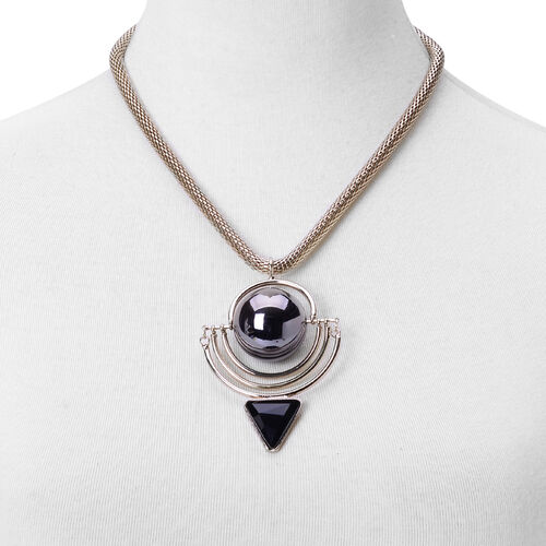Simulated Black Spinel Pendant With Chain in Black Tone