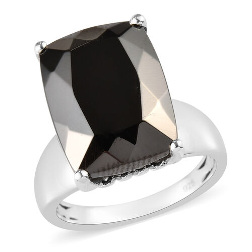 6.54 Ct Elite Shungite and Zircon Solitaire Ring in Platinum Plated Silver