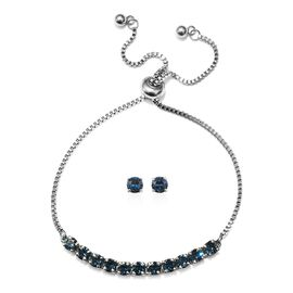 J Francis - 2 Piece Set - Crystal From Swarovski Montana Crystal (Rnd) Adjustable Bolo Bracelet (Siz