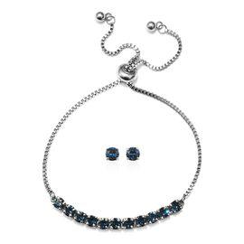 J Francis - 2 Piece Set - Crystal From Swarovski Montana Crystal (Rnd) Adjustable Bolo Bracelet (Siz
