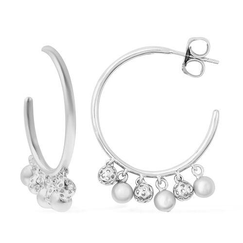 RACHEL GALLEY Bold Lattice Collection - Rhodium Overlay Sterling Silver Dangling Lattice Ball Earrin