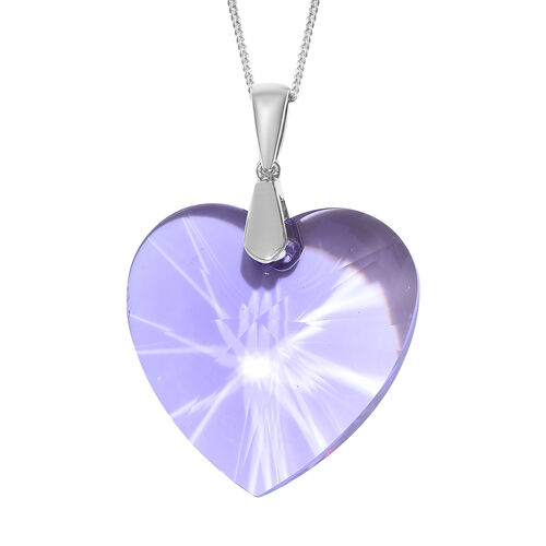 J Francis -Crystal from Swarovski Violet Colour Crystal (Hrt 40 mm) Pendant With Chain (Size 30) in