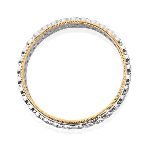 J Francis - Platinum and Yellow Gold Overlay Sterling Silver (Rnd) SPINNER Bangle (Size 7.5) Made with SWAROVSKI ZIRCONIA, Silver wt 37.16 Gms.