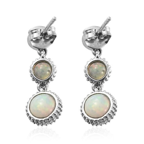 Ethiopian Welo Opal (Rnd), Natural Cambodian Zircon Earrings (with Push Back) in Platinum Overlay Sterling Silver 3.000 Ct.