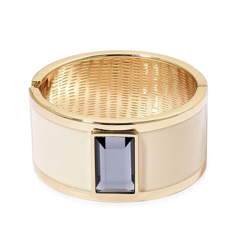 Designer Inspired - AAA Simulated Grey Diamond White Colour Enameled Bangle (Size 6.5) in Gold Tone