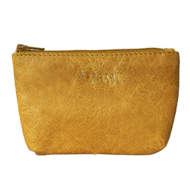 Assots London Diana 100% Genuine Leather Zip Top Coin Purse in Yellow (Size 11x2x8cm)