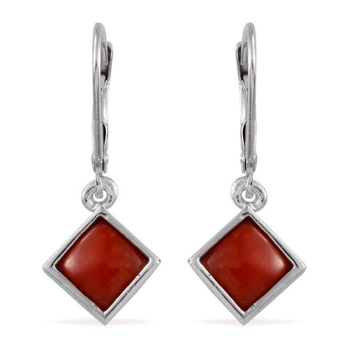 Natural Mediterranean Coral (Sqr) Earrings in Platinum Overlay Sterling Silver 2.000 Ct.
