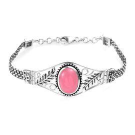 Pink Jade (Ovl 16x12 mm) Bracelet (Size 7.5) in Sterling Silver 11.50 Ct, Silver wt 13.00 Gms