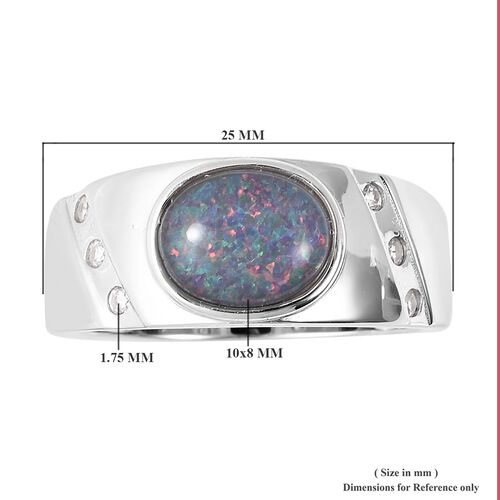 Australian Boulder Opal and Natural Cambodian Zircon Ring in Rhodium Overlay Sterling Silver, Silver wt 5.00 Gms