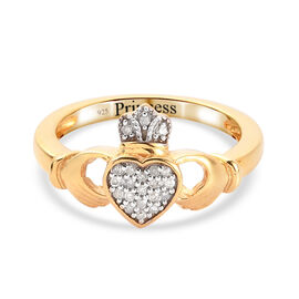 Personalised Engravable Diamond Claddagh Ring in 14K Gold Overlay Sterling Silver