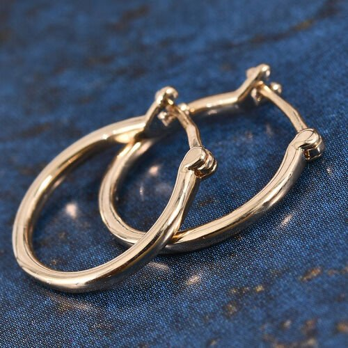 9K Yellow Gold Hoop Earrings (with Clasp Lock)