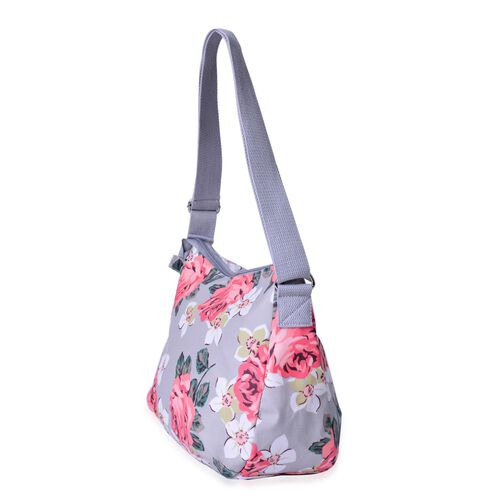 Light Grey and Multi Colour Floral Pattern Crossbody Bag with Adjustable Shoulder Strap (Size 33X26X12 Cm)