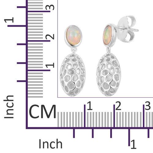 RACHEL GALLEY Ethiopian Welo Opal (Ovl) Pebble Lattice Drop Earrings (with Push Back) in Rhodium Plated Sterling Silver