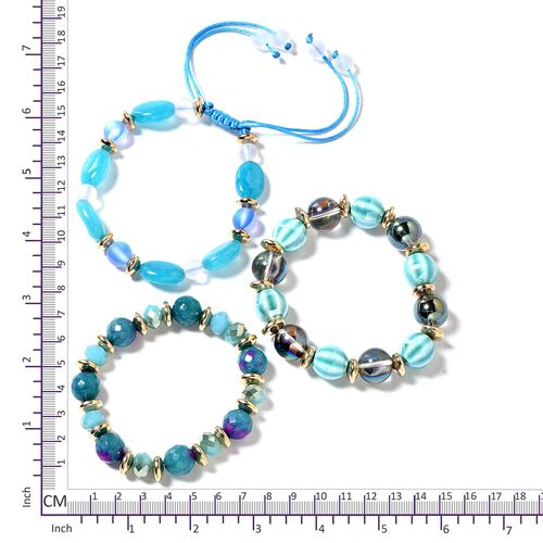 Set of 3 Multi Colour Beads Bracelet (Size 6.50, 7.50) with Multi Charm