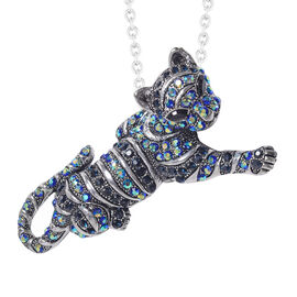Safari Collection - Multi Colour Austrian Crystal Cat Brooch or Pendant With Chain (Size 24) in Stai