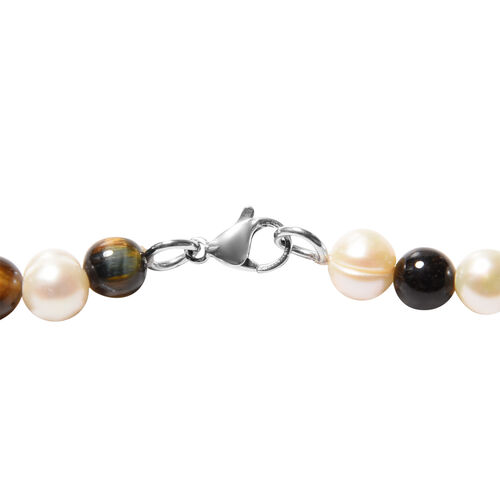 3 Piece Set - Yellow Tiger Eye and White Freshwater Pearl Beads Necklace (Size 18), Bracelet (Size 8) and Lever Back Earrings in Stainless Steel 116.40 Ct.
