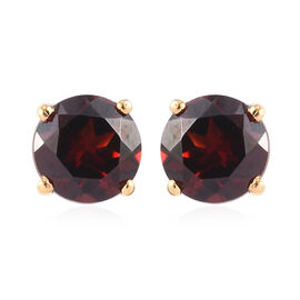 Mozambique Garnet Stud Earrings (with Push Back) in 14K Gold Overlay Sterling Silver 2.00 Ct.