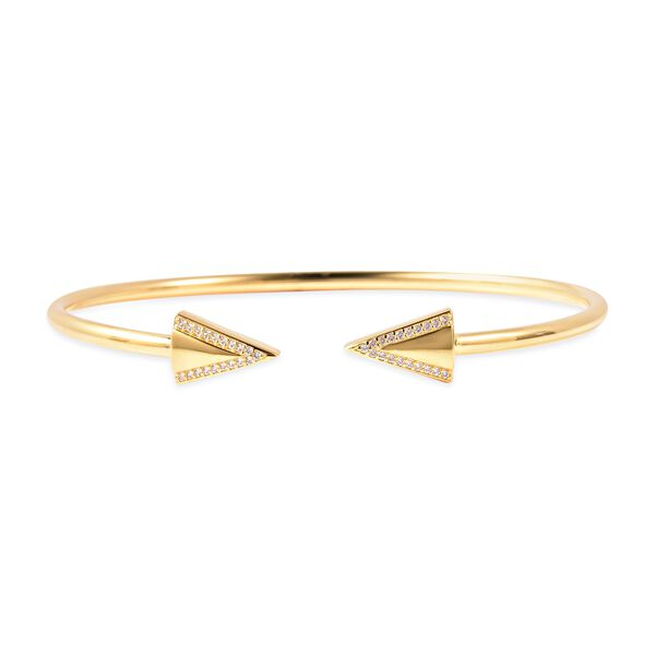 LucyQ Natural White Cambodian Zircon Arrow Bangle in Yellow Gold Plated Sterling Silver 8 Inch