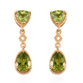 Hebei Peridot (Tri and Pear) Earrings in 14K Gold Overlay Sterling Silver 4.750 Ct.