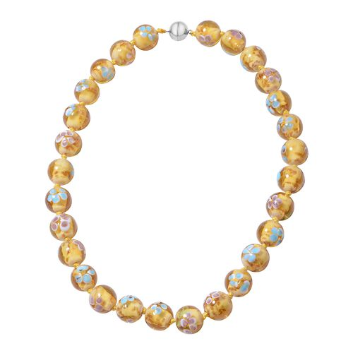 Millefiori Collection- Champagne Colour Murano Style  Glass Beads Necklace (Size 20) with Magnetic L