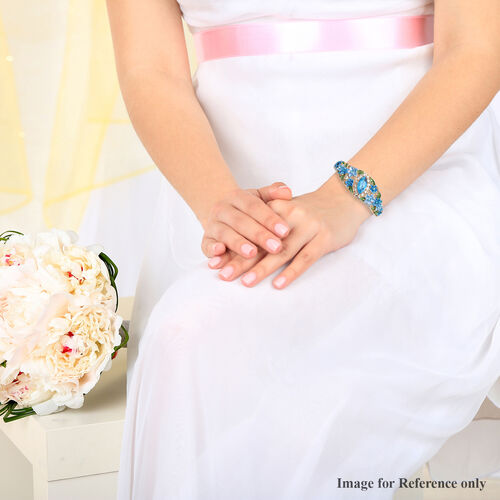 Simulated Aquamarine, Blue and White Colour Austrian Crystal Bangle (Size 6.5) in Gold Tone
