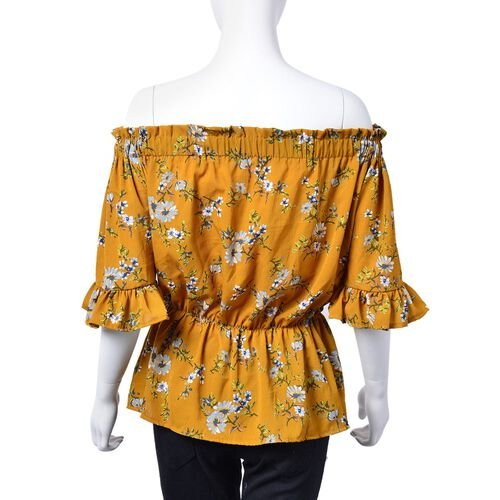 Summer Collection - Limited Available - Yellow and Multi Colour Floral Pattern Peplum Top (Medium-Large Size 45X50 Cm)