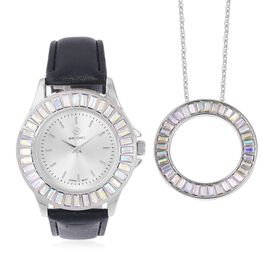2 Piece Set - STRADA Japanese Movement Water Resistant Simulated Mercury Mystic Topaz Studded Watch