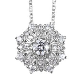 J Francis - Platinum Overlay Sterling Silver (Rnd) Floral Pendant with Chain 1.22 Ct.
