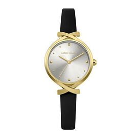 Karen Millen Analogue Gold Tone Watch with Black Leather Strap