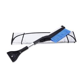 2 Piece Set - Car Windshield Cover (128x60 Cm) with 2-in-1 Telescopic Snow Scraper and Brush (61-86