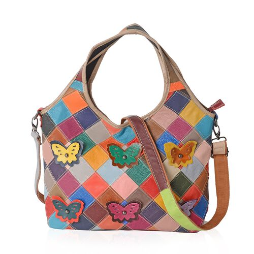 Morocco Collection 100% Genuine Leather Multi Colour 3D Butterfly Adorned Tote Bag (Size 34x27x12 Cm