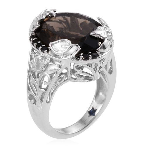 GP Brazilian Smoky Quartz (Ovl 11.45 Ct), Boi Ploi Black Spinel and Kanchanaburi Blue Sapphire Ring in Platinum Overlay Sterling Silver 11.750 Ct.