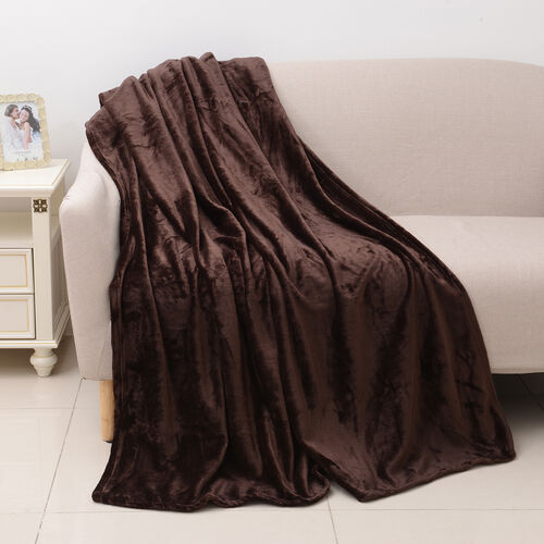 100% Microfibre Flannel Blanket with Self-Fabric Border (Size 200x150 Cm) - Brown