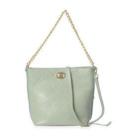 100% Genuine Leather Mint Green Colour Shoulder Bag with Removable Shoulder Strap (Size 27x20.5x25x1