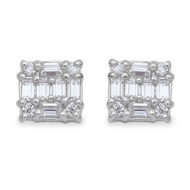 Moissanite Stud Earrings (with Push Back) in Rhodium Overlay Sterling Silver