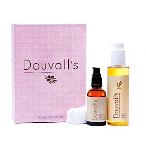 Douvalls: Argan Oil Luxury Giftset (Containing Cleanser - 150ml,  Argan Oil Moisturiser - 50ml & Muslin Cloth)