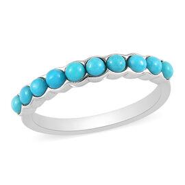 Arizona Sleeping Beauty Turquoise Half Eternity Ring in Platinum Overlay Sterling Silver