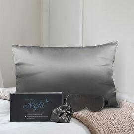 3 Piece Set - 100% Mulberry Silk Pillowcase (50x75cm), Scrunchie & Eye Mask (23.5x10.5cm) - Dark Gre
