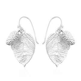 Sterling Silver Mulberry Fruit with Leaves Hook Earrings, Silver wt 7.55 Gms.