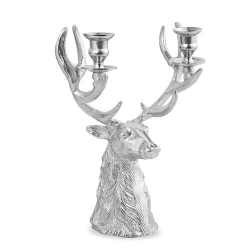 Home Decor - Designer Inspired - Antique Look ReinDeer Head Candelabra in Silver Tone
