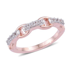 Natural Cambodian Zircon (Rnd) Ring in Rose Gold and Platinum Overlay Sterling Silver 0.250 Ct.
