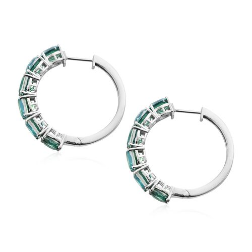 Peacock Quartz (Ovl) Hoop Earrings (with Clasp Lock) in Platinum Overlay Sterling Silver 17.000 Ct. Silver wt 11.38 Gms.