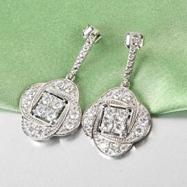 J Francis - Platinum Overlay Sterling Silver Earrings (with Push Back) Made with SWAROVSKI ZIRCONIA 5.760 Ct.
