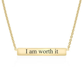 """Personalised Engravable 9ct Gold Bar Necklace, 16+1"""""""