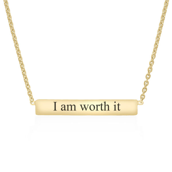 """Personalise Engravable 9ct Gold Bar Necklace, 16+1"""""""