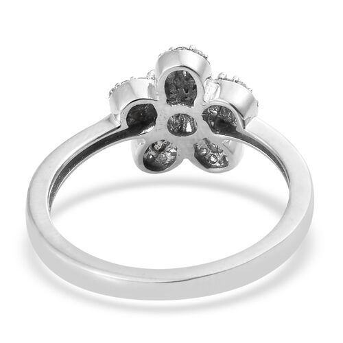 Diamond (Rnd and Bgt) Flower Ring in Platinum Overlay Sterling Silver 0.330 Ct.