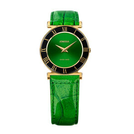 Jowissa - Roma Swiss Watch in Stainless Steel with Laser Engraved Logo and Genuine Leather Green Str