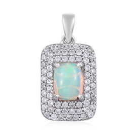 3 Carat Ethiopian Welo Opal and Cambodian Zircon Halo Pendant in Platinum Plated Sterling Silver